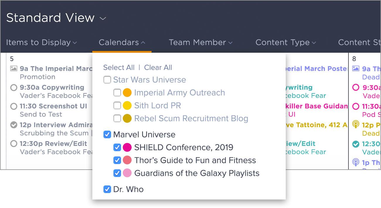 DivvyHQ content marketing calendar