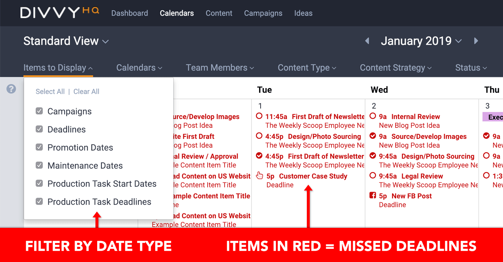 Content Calendar Helps Eliminate Missed Deadlines