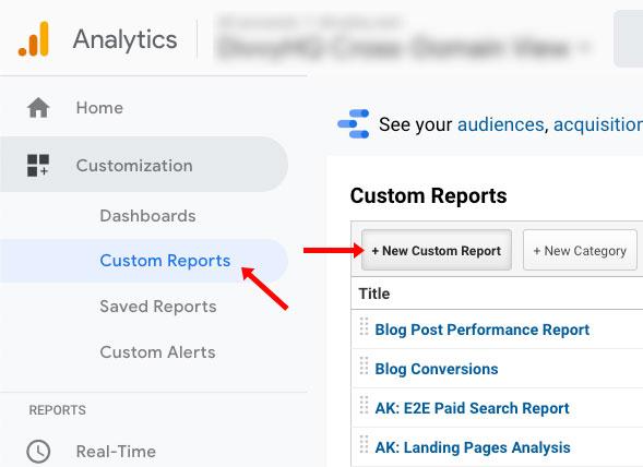 blog conversions report step 1