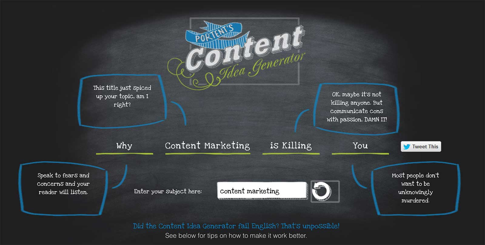 Portent's Content Idea Generator - great for content planning meetings