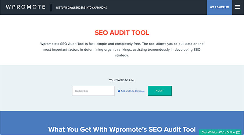 content audit tools - Wpromote SEO Audit Tool
