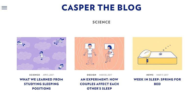 how the best brand personalities do content marketing - Casper Mattresses